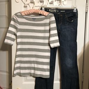 Old Navy grey/white striped tee shirt size small